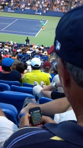 That's Stosur in the background, the 11th seed for women at the US Open. In the foreground? Oh, only some idiot.