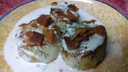 Seared Scallops in mustard cream sauce
